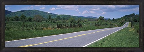 Road passing through a landscape, Virginia State Route 231, Madison County, Virginia, USA by Panoramic Images Framed Art Print Wall Picture, Espresso Brown Frame, 38 x 14 inches