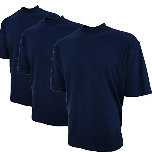 Good Life Brand 100% Cotton Mock Turtleneck Shirt Short Sleeved Pre-Shrunk 3-Pack (XXL, Navy 3-Pack)