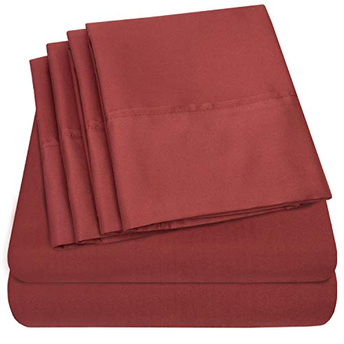 6 Piece 1500 Thread Count  Deep Pocket Bed Sheet Set - 2 EXTRA PILLOW CASES, GREAT VALUE - Queen, Burgundy ()
