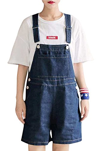 ACE SHOCK Women Shorts Overalls, Juniors Romper Jeans Denim Jumpsuit Large Size Blue