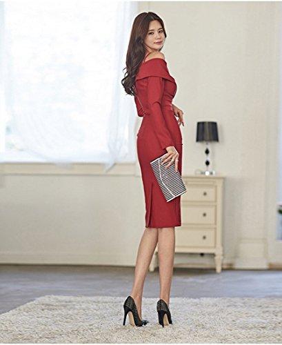 Donna Con Spalle Da Vestibilità Spalla A Da Scoperte Abito Donna Slim Ivq77a