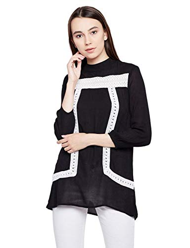 oxolloxo Women #39;s Viscose 3/4th Sleeves Top  Black