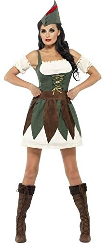 Ladies Sexy Medieval Archer Book Day Week Film Cartoon Halloween Carnival Fancy Dress Costume Outfit UK 4-14 (UK 12-14)