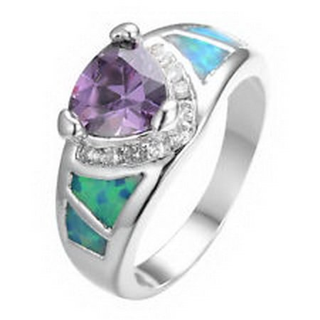 jacob alex ring CZ Ring Purple Amethyst/opal Unisex 925 Sterling Silver Size 10 Engagement