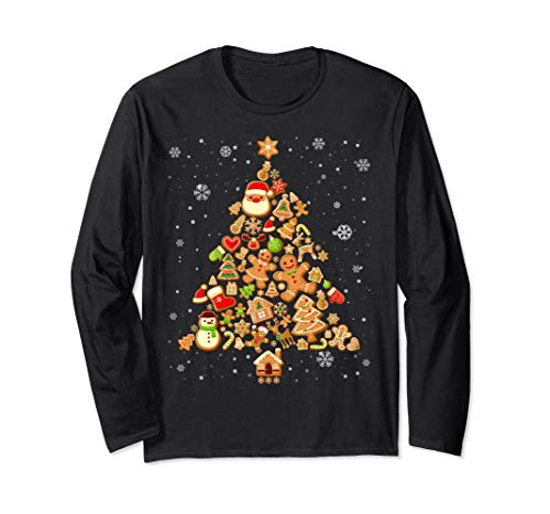 Funny Gingerbread Christmas Tree Decoration Xmas Men Women Long Sleeve T-Shirt (Man Decorations Gingerbread Christmas)