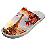 Slippers with Eiffel Tower Sunset Original Indoor Sandals Family Shoes Flat Winter Sleeppers 12 B(M) US