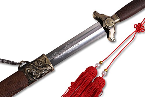 - ICNBUYS Chinese Sword Vintage Tai Chi Pattern Flexible Overall Length 35.5 inch