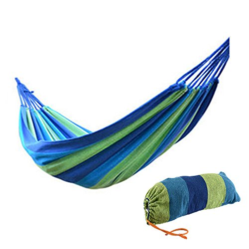 Single Canvas Brazilian Hammock Swings For Camping Outdoor Patio Backyard Rainbow Striped 74.80 x 31.50inch (Blue) (Fixing Wicker Chairs)