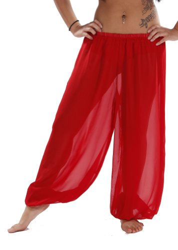 Belly Dance Chiffon Harem Pants | Sheer Shadow - Red (Belly Dance Harem Pants For Women)