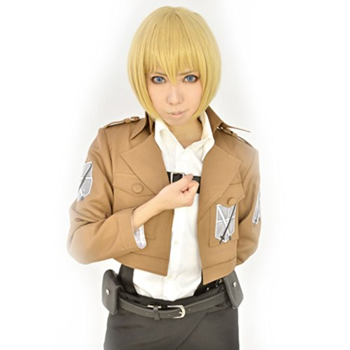 Price comparison product image Amybria Anime Costume Attack On Titan Armin Arlart Short Cosplay Wig Dark Blonde