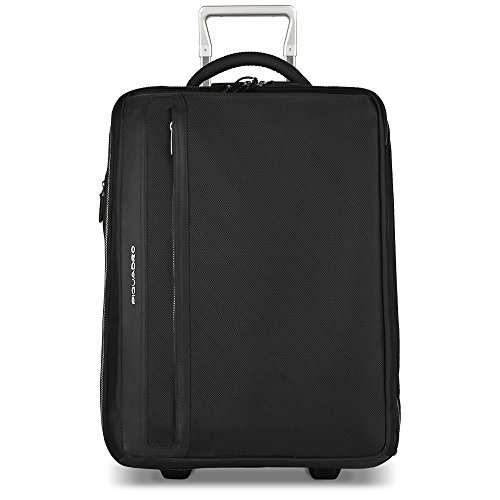 Piquadro Cabin Trolley with Double Computer and Ipadair/air2 Compartment and Side Handles, Black