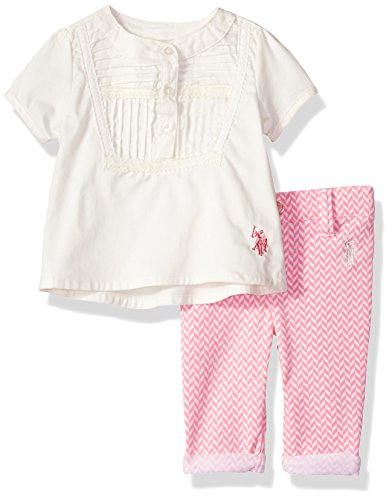 U.S. Polo Assn. Baby Girls' Fashion Top and Pant Set, Vanilla, 3/6 Months (Polo Baby Girl Assn Us)