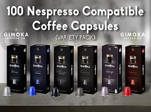 100 nespresso compatible coffee capsules gimoka coffee 1 variety pack. Black Bedroom Furniture Sets. Home Design Ideas