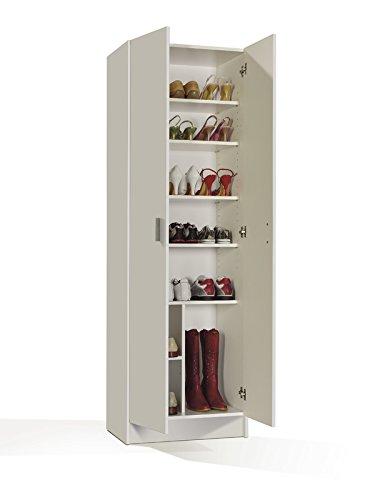 HABITMOBEL Armario Zapatero Multiusos, Armario Auxiliar Color Blanco, Dimensiones 180 x 59 x 37 cm