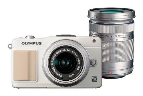 オリンパス ペンmini EPM2 ホワイト ダブルズームキット M.ズイコー デジタル1442mm F3.55.6 II R M.ズイコー デジタルED 40150mm F4.05.6 R