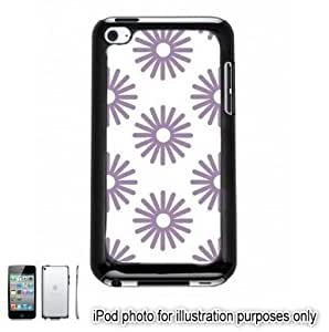 Purple Sun Bursts Pattern Apple iPod 4 Touch Hard Case Cover Shell Black 4th Generation
