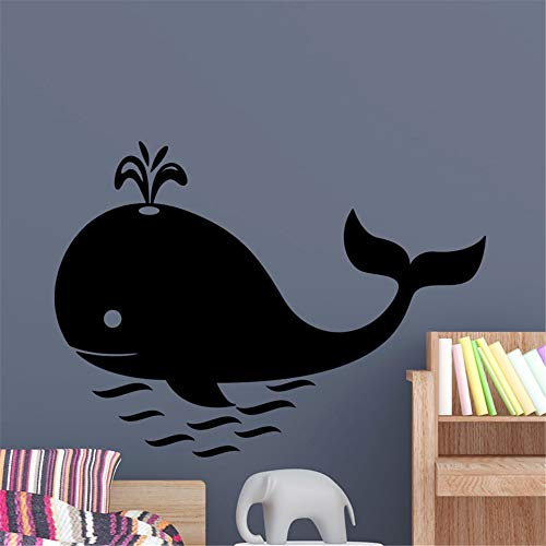 Jifer Vinyl Wall Sticker Decal Quote Home Decor Whale for Playroom Nursery Kids Room Bathroom Washroom ()