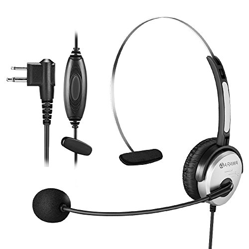 Arama PTT MIC Headphone Headset w/ Adjustable Band for Motorola CP200 Devices GP88 300 CT150 P040 PRO1150 SP10 XTN500 Radios by Arama