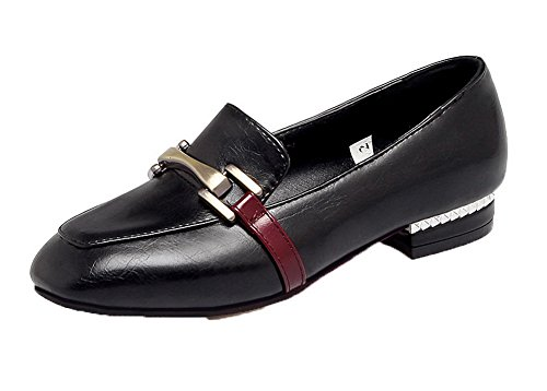 Amoonyfashion Kvinnor Låga Klackar Fast Pull-on Pu Square-toe Pumpar-shoes Svarta
