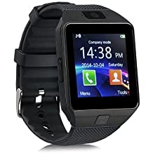 ULTREND DZ09 Stud Bluetooth Smart Watch Fit for Smartphones IOS Apple iphone 4/4S/5/5C/5S Android Samsung S2/S3/S4/S5/S6Edge/Note2/Note3 /HTC Sony Blackberry and Other Andriod Phone (BLACK BLACK)