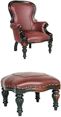 S Rococo Faux Leather Chair Ottoman