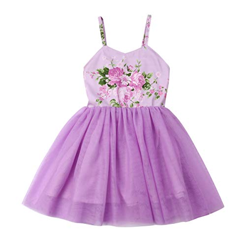 Easter Toddler Infant Baby Girls Dress Outfits Bunny Rabbit Print Princess Party Tutu Skirt Summer Ruffle Dress Clothes (Purple, 5-6 Years)]()