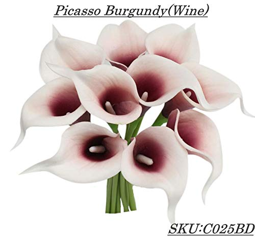 Angel Isabella 10pc Set of Real Touch Calla Lily-Keepsake Artificial Calla Lily with Small Bloom Perfect for Making Bouquet, Boutonniere,Corsage.Quality Keepsake Artificial Flower (Picasso Burgundy)