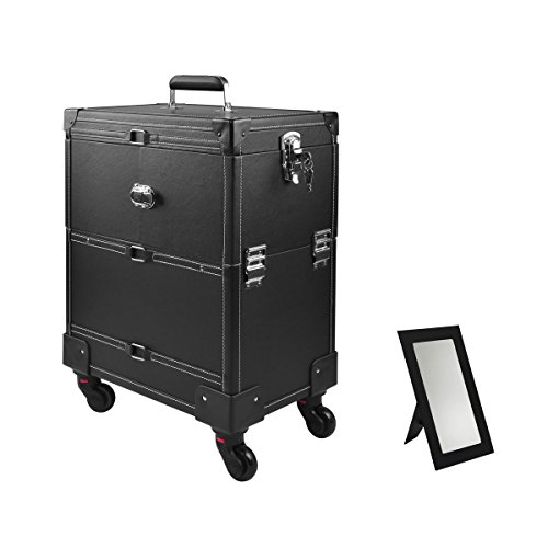 Rolling Leather Makeup Train Case, Professional Artist Rolling Trolley Cosmetic Organizer, with Telescopic Handle and Mirror, 4 ABS 360-degreed wheels, Black by Best and Affordable