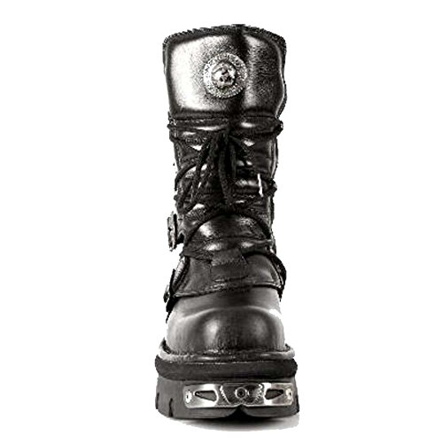 Stivali in pelle nera metallica unisex roccia nera in pelle nera