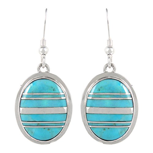 Sterling Silver Oval Turquoise Earrings - Turquoise Earrings 925 Sterling Silver & Genuine Turquoise (Select style) (Classic Ovals)