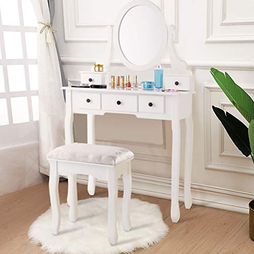 Dressing Table Set with Oval Mirror Stool 5 Storage Drawers Modern Glamorous and elegant style Dressing room Bathroom Bedroom Furniture Density Vanity Tool Home Improvement Organize Girl -