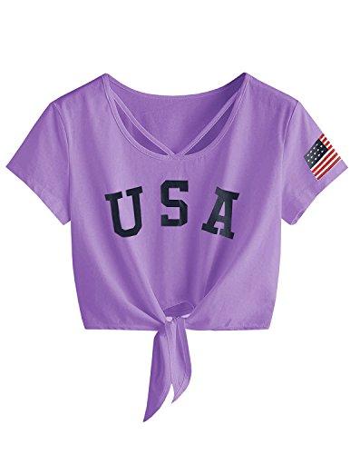 Imily Bela Womens Short Sleeve Summer Tops Cross Scoop Neck T-Shirt Knot Front USA Tees Lavender