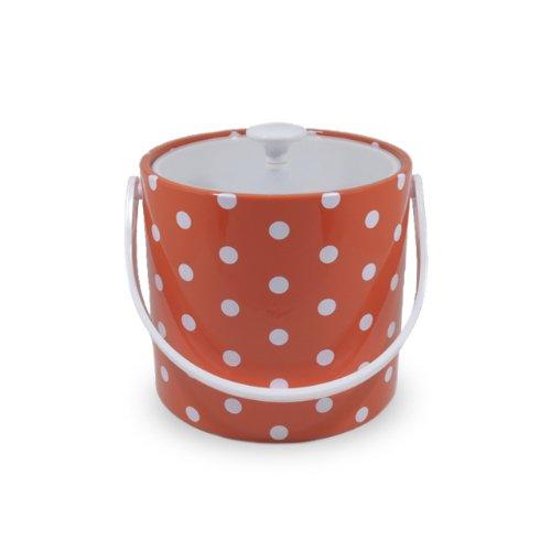 Mr. Ice Bucket 704-1D Polka Dots Ice Bucket, 3-Quart, Orange