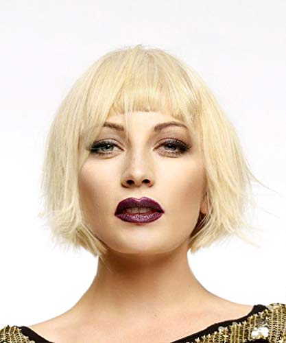 PinkShow Short Bob Blonde Lace Front Wig Short Straight Flapper Wigs for Women Synthetic Hair with Bangs Cosplay Costume Bob Wig Heat Resistant Hair Half Hand Tied Replacement Hair 10 inch #613