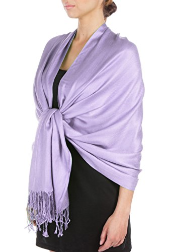 Sakkas Large Soft Silky Pashmina Shawl Wrap Scarf Stole in Solid Colors- Lavender