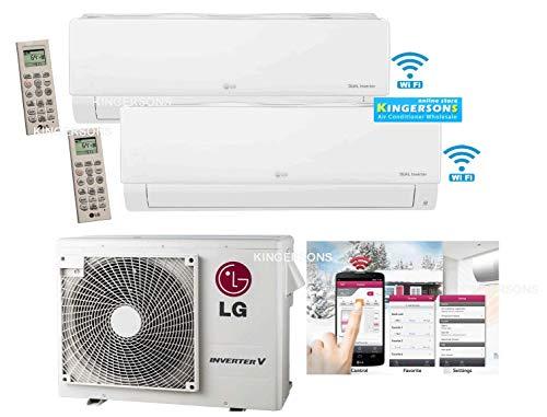 LG 2.5 TON 30000 BTU SEER 20 Dual Zone 12K + 18K BTU Heat and Cool Mini Split AC Heat Pump System Energy Star with Built in WiFi (Lg Split Heat Pump)