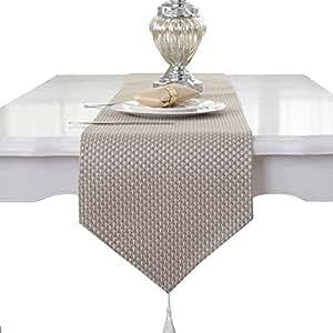 Borlas de decoración y color Beige y café, hechas a mano, tejidas, tela, beige, 33 * 210cm