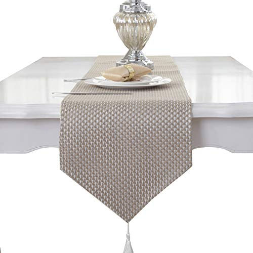 Beige cream handmade weave home decorative party gift tassel bed table runner cloth 80 inch approx ()
