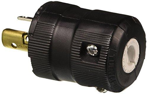 Hubbell HBL4773VBK Locking Valise Plug, 15 amp, 277V, L5-7P, Black