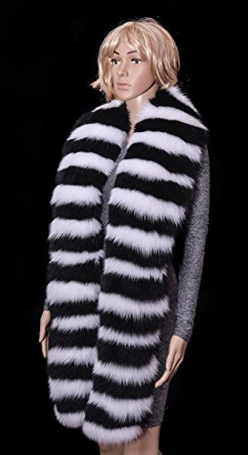 Saga Furs Jet Black vs Snow White Shadow Fox Fur Handmade Attractive Outfit Boa by Your Furrier