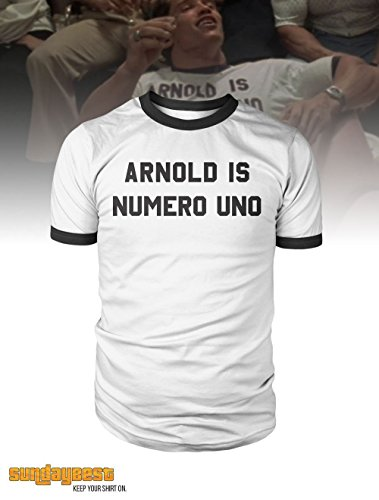 Arnold Is Numero Uno Ringer T-Shirt - arnold schwarzenegger, actor, funny celebrity tee shirt, mens, gift, movie, humor, pumping iron, golds gym, work out, workout, exercise (Celebrity Gift)