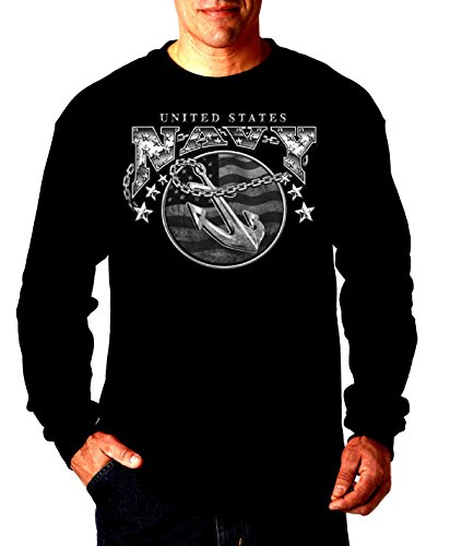 - United States Navy Mens Thermal Shirt Bald Eagle Anchor Naval Shield Longsleeve Black,X-Large