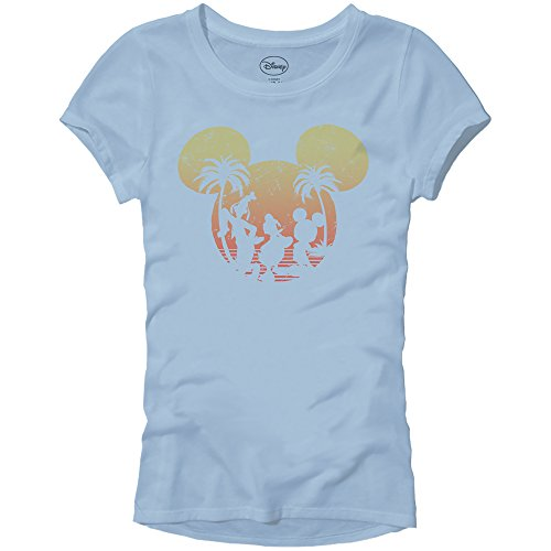 Disney Mickey Mouse Sunset Silhouette Disneyland World Tee Funny Humor Women's Juniors Slim Fit Graphic T-Shirt Apparel (Light Blue, 2XL)