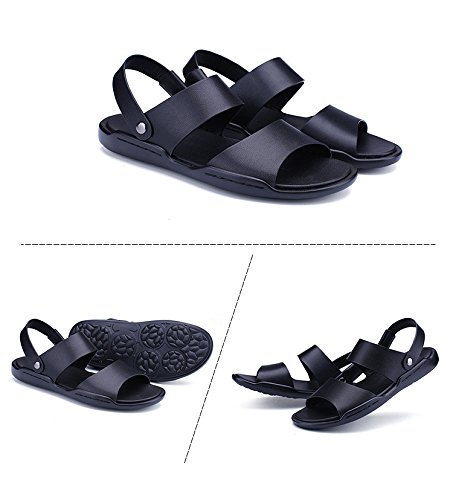 Sommer Echtleder Männer Sandalen Männer Freizeit Sandalen Dualer Gebrauch Schuh Trend Das neue Atmungsaktiv Männer Schuh ,schwarz,US=7,UK=6.5,EU=40,CN=40