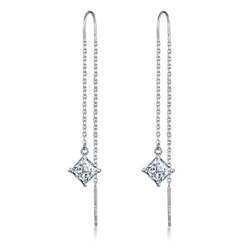 - Viyino 925 Sterling Silver Square Cubic Zirconia CZ Simulated Diamond Dangle Drop Threader Earrings (White)