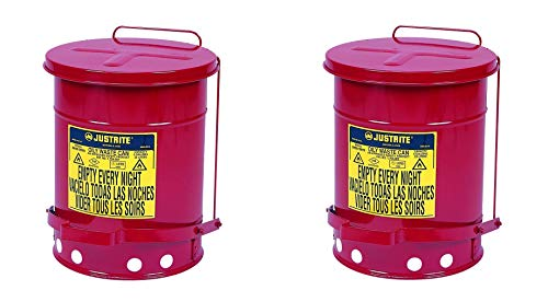 Justrite J09100 09100; Galvanized-steel; Safety cans; For Oily waste; Red; Foot Operated cover; Raised, ventilated Bottom; Reinforced ribs; Self-closing (Pack of 2) -