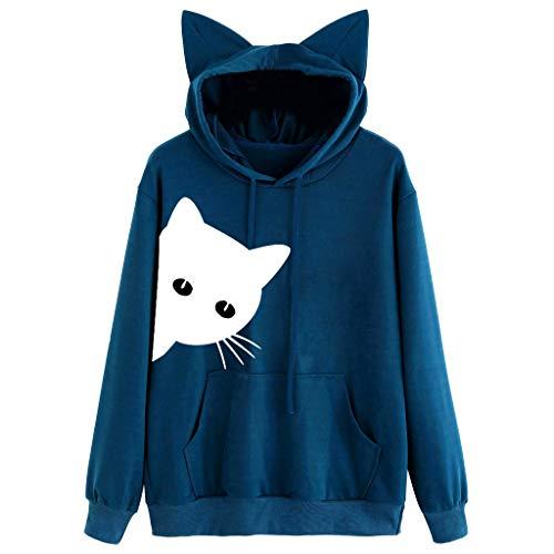 Oasisocean Women's Cat Print Long Sleeve Drawstring Sweatshirt Pullover Hoodie Kangaroo Pocket Blouse Tops -