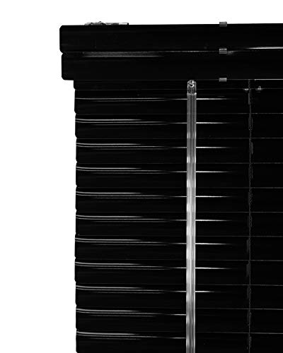 CHICOLOGY Custom Made Corded 1-Inch Aluminum Mini Blind, Blackout Horizontal Slats, Inside Mount, Room Darkening Perfect for Kitchen/Bedroom/Living Room/Office and More: 23″ W X 96″ H, Black (Gloss)