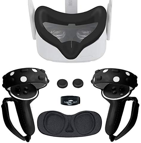 Black 360/° Full Body Oculus Quest Face Mask,Esimen VR Silicone Protective Frame for Oculus Quest Head Cover Controller Grip Skin