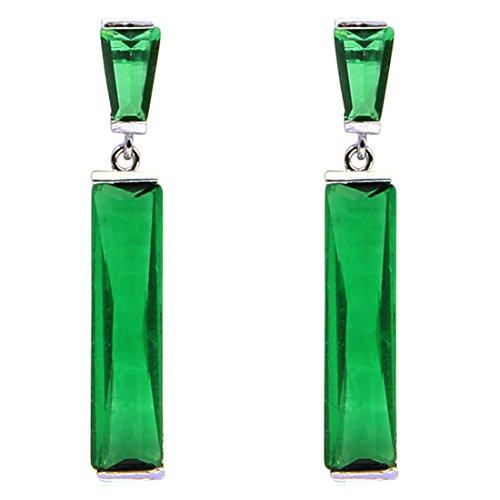 FC JORY Green Color Dangle Baguette White Gold Plated CZ Bridal Wedding Earrings (Earrings Green Baguette)